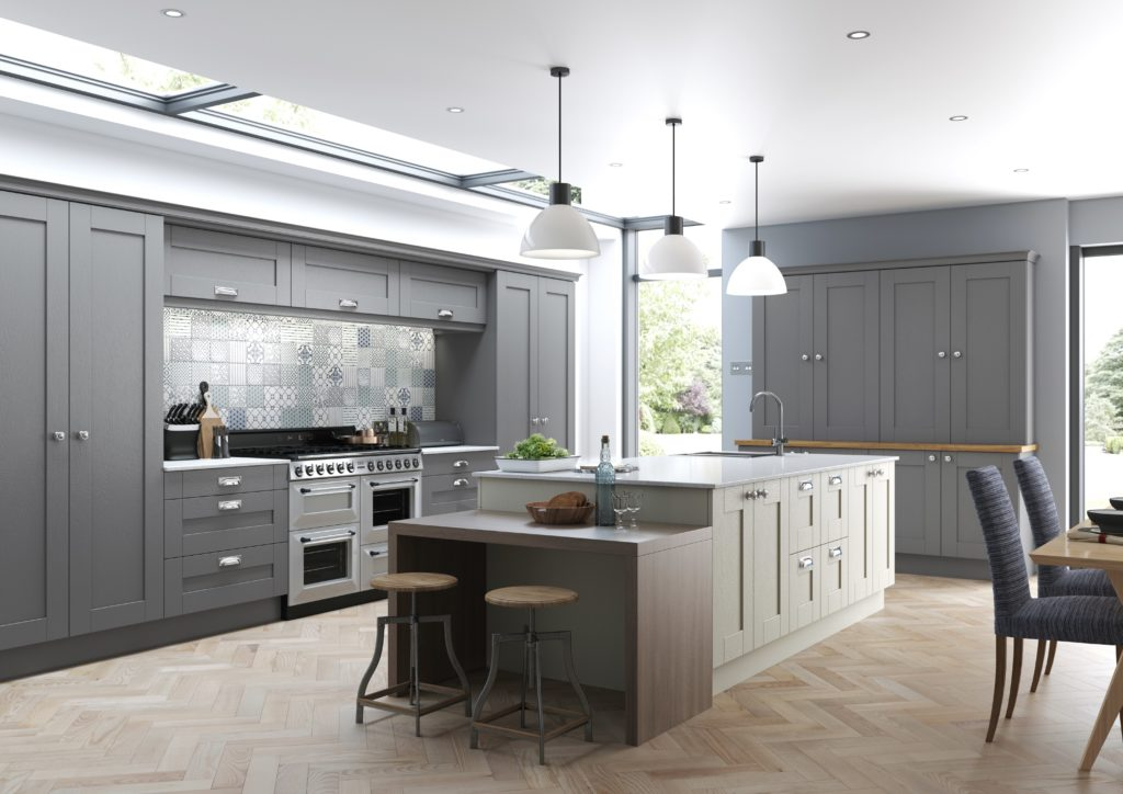 Traditional kitchen design - Finsbury in dust grey and mussel