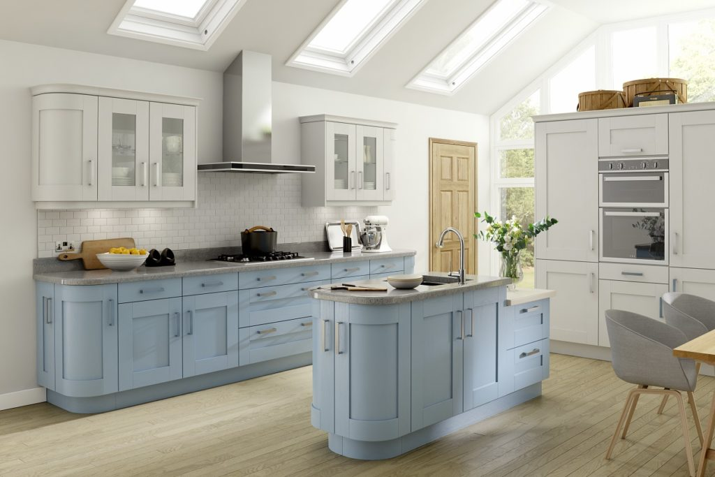 traditional kitchen design - Stonebridge in Ice Blue and White